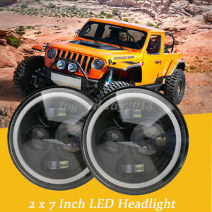 Us Pair 7 Led Halo Angel Eyes Headlight 60w Headlamp For Jeep Wrangler Jk Tj Cj5