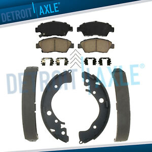 Front Ceramic Brake Pads Rear Shoes For 2003 2005 2006 2007 Honda Civic Hybrid