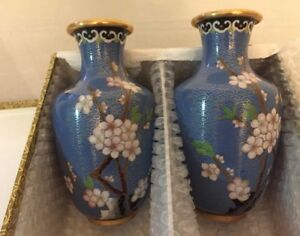 Pair Of Estate Vtg Handmade Cloisonne Vases With Carved Wood Stands Blue Chinese