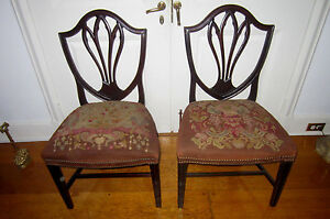 Pair Of Antique Hepplewhite Shield Back Side Chairs Needle Point Seats Ca 1790