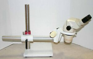 Olympus Sz 6045 Stereozoom Microscope 10 63x Boom Stand Nice