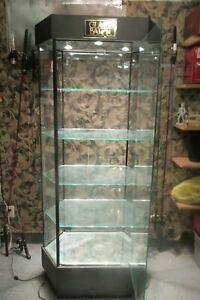 Lighted Glass 5 Shelf Hexagon Display Show Case With Key Used In Great Condition