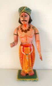 Vintage Old Rare Hand Carved And Painted Wooden Tribal God Isar Man Fine Statue