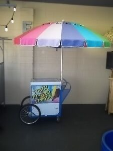 New Roadrunner Vendor Ice Cream Push Cart W umbrella Custom Graphics Hd Cart