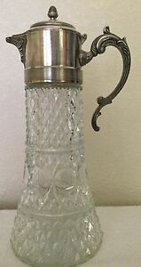 Antique Crystal Tankard With Diffuser Silver Lid