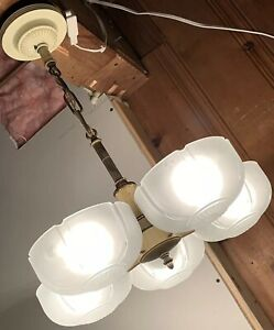 Art Deco Antique 5 Slip Shade Ceiling Light Lamp Fixture Chandelier Markel Wow