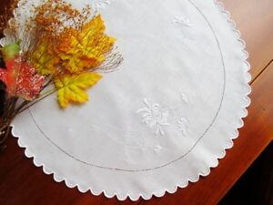 Antique Scottish Hand Embroidered White Linen Doily Tablecloth 20 Diam Mums