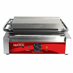 Avantco P78 Grooved Top Bottom Commercial Press Grill Restaurant Panini Sandwich