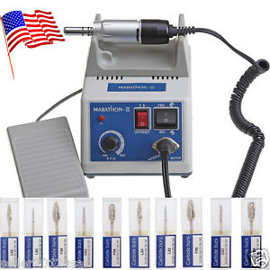 Usa Ship Marathon 35k Rpm Dental Lab Electric Micromotor N3 10pcs Drills Burs