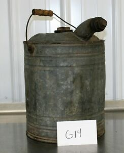 Vintage 5 Gallon Galvanized Steel Gas Oil Can Jug Service Station Decor G14