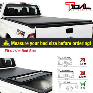 Tidal 6 75 Bed Short Truck Bed Tri Fold Tonneau Cover For 99 16 Ford F250
