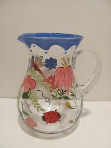 Large Hand Painted Pitcher Clear Glass