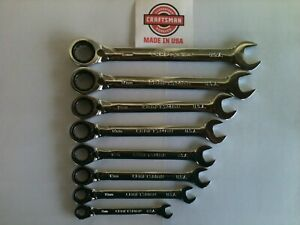 Nos Craftsman usa Made 8 Pc Metric Reversible Ratcheting Wrench Set
