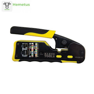 Klein Tools Pass thru Modular Wire Crimper All in one Tool Cuts Strips