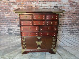 Antique Chinese 10 Drawer Wood Medicine Apothecary Cabinet Altar Table Herb
