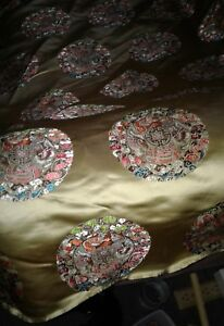 Large Chinese Silk Tapestry Material Oriental Asian 29 X92