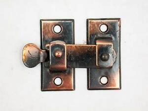 Two Antique Arts Crafts Shutter Latches Copper Black Finish New Old Stock