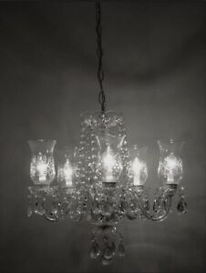 True Vintage European Crystal Chandelier C1935 1939 Antique Glass Ceiling Light