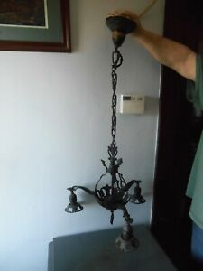 Antique Brass Non Magnetic Magnetic Metal 3 Arm Ceiling Light Fixture Nice