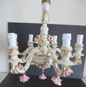 Vtg Capodimonte Italy Chandelier Rose 6 Arm Gorgeous Victorian Shabby Chic