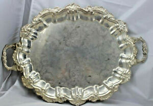 Vintage Silver Plated Serving Tray Ornate Trim Made In Hong Kong 23 X 16