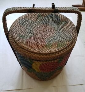 Antique Large Woven Sewing Basket W Fruit Excellent Condition