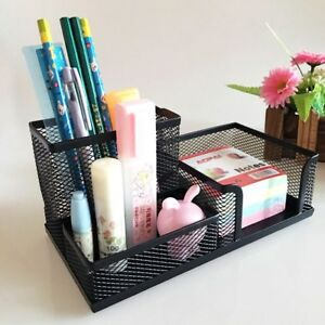 Metal Mesh Desk Organizer Set Desktop Supply Pen Holder Mini Hutch Storage Table
