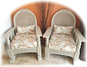 Antique Barley Twist Cane His Hers Tub Chairs Lounge Upcycled 1930 S Rare