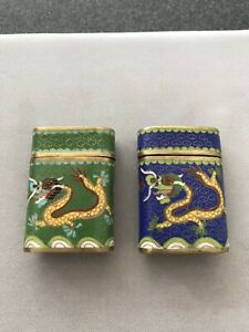 Old Chinese Bronze Cloisonne Blue And Green Enamel Small Opium Canister Jar Boxs