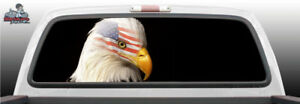 Band Eagle American Flag Head Perforated Rear Window Graphic Decal Suv Truck Car