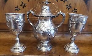 Three Piece Antique Rare Wm Gale Son Co Coin Silver Urn With Lid 2 Goblets