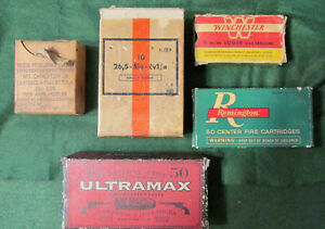5 Different Vintage cardboard ammo boxes