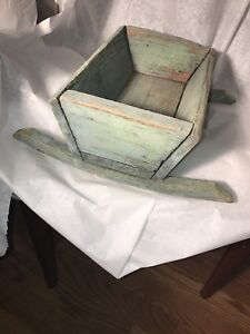 Antique 1800s Wooden Doll Cradle Best Original Best Dry Blue Paint