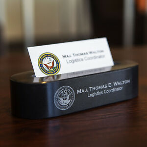 Solid Black Marble Business Card Holder Engraved Free