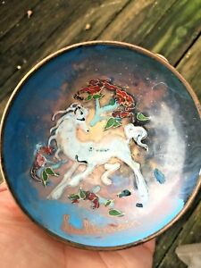 Antique Copper Cloisonne Pegasus Unicorn Liechtenstein Bowl Unique Estate J8