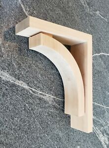 Contemporary Large Cherry Wood Corbel Bracket Ornamental Sleek Profile