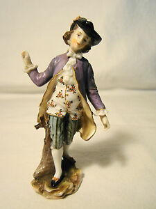 Volkstedt Porcelain Figurine Of Young Gentleman 3 7 8 H Figure Statue Late19th C