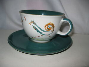 Hand Painted Rooster Chicken Bird Tea Cup Saucer Artist Signed Made In England