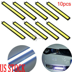 Us 10x Led Cob Car Auto Drl Driving Daytime Running Lamp Fog Light White 17cm