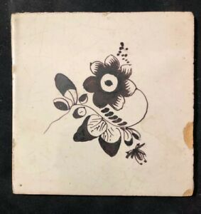 18th Century Dutch Delft Maganese Tile Classic Floral Early Tile 13 Cm Square