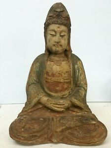 Chinese Carved Polychrome Wood Figure Seated Guanyin Kwan Yin