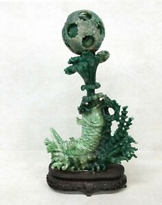 Chinese Carved Jade Puzzle Ball Fish Group Statue