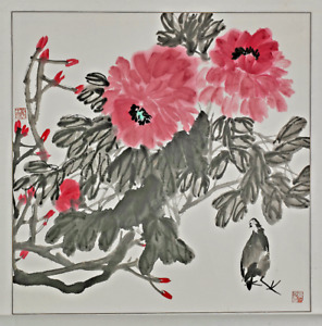 Chinese Ink And Color Painting Signed Seal Marks Birds Amid Flora