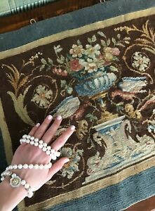 2 X2 Antique French Aubusson Tapestry Wool Silk Brown 51cm X 61cm C 1900