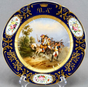 Old Paris Sevres Style Hand Painted Napoleonic Battle Cobalt Gold