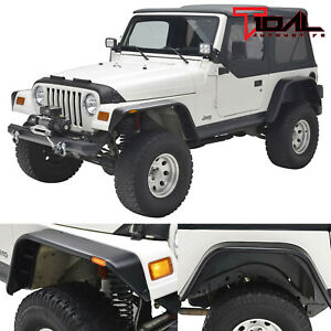 97 06 Jeep Wrangler Tj Front Rear Fender Flares With Side Led Light Flat Style