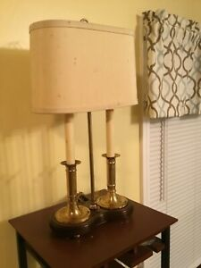 Brass Bouillotte Table Lamp 2 Stick Bankers Lawyers Hollywood Regency Reduced