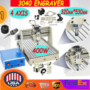 3040 4 Axis Cnc Router Engraver 400w Wood Milling Cutting Machine Parallel Port