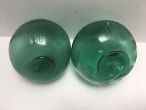 2 Japanese Glass Fishing Floats Marked Lii I Green 3 25