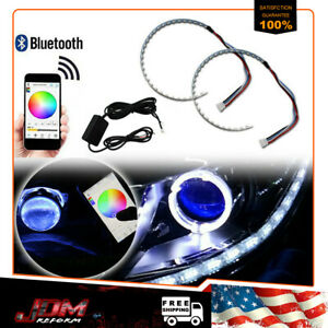 Bluetooth Wireless Control Rgb Led Demon Eye Halo Ring Headlight Projector Hot